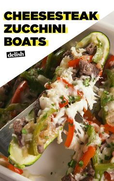 Could You Eat Pizza With Sort Two Diabetic Issues? Cheesesteak Zucchini Boats Are Low Carb, High Flavor. Get The Recipe At Zucchini Boat Recipes, Zucchini Boats, Zucchini Cheese, Beef Recipes, Low Carb Recipes, Cooking Recipes, Healthy Recipes, Healthy Foods, Healthy Meals For Two