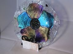fused glass projects | Fused glass projects / Fused Glass Purple Poppy Plate by chneos on ...