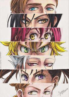 I tried a different format this time (with 7 pairs of eyes instead of no e . - Nantsu no taizai - Hand werk Otaku Anime, Anime Naruto, Manga Anime, All Anime, Seven Deadly Sins Anime, 7 Deadly Sins, Seven Deadly Sins Tattoo, Anime Kawaii, Regard Animal