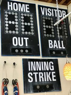 Vintage Baseball Scoreboard   Mounted On Wood   $795 For All  Mid Century Dallas Booth #766  Lula B's in the OC! 1982 Ft. Worth Ave. Dallas, TX 75208