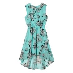 This girl's turquoise chiffon dress from bluezoo has a dipped back hem and a black and white floral pattern design with a peter pan collar and elasticated waistband. Floral Chiffon Dress, Debenhams, Pattern Design, Daughter, Turquoise, Summer Dresses, Black And White, Color, Baby