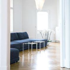 Dunkelblaue Sofas in weißem Interieur im Showroom von Renetti | creme guides