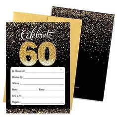Black and Gold - 60th Birthday Party Invitation Cards with Envelopes (25 Count)