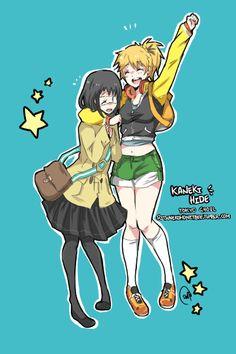 Kaneki and Hide genderbend