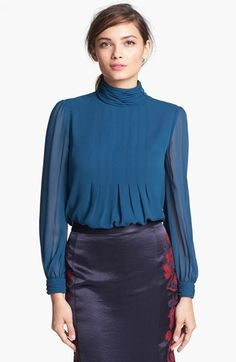 Tory Burch 'Jasmine' Pleated Silk Blouse available at #Nordstrom