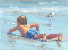 Niño de enfriamiento en el surf giclee de la lona día del
