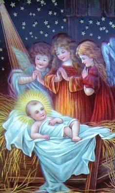 Vintage Nativity Christmas Card ~ 3 Angels, 1 in Orange (Blue Night Sky Version)