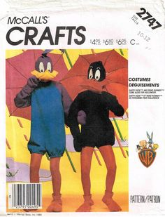 Roadrunner and Daffy Duck Halloween Costume Head, Jumpsuit Mittens and Feet Sewing Pattern by PeoplePackages