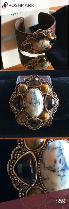 """EXQUISITE GEMSTONE LEATHER CUFF by STUDIO BARSE NEW IN BOX ❤️ Beautiful gemstone leather cuff by Studio BARSE.  Center stone is Picture Jasper surrounded by 4 Tiger Eye and 4 facet Smokey Topaz gemstones.  Adjustable leather   1.5"""" leather band.  Includes box and velvet dust bag.  Comfortable and stylish ! Studio Barse Jewelry Bracelets"""