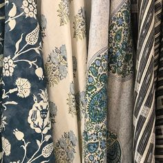 Carolina Irving's new reverse pomegranate fabric on the far left inspired this scheme (from left: Carolina Irving, Lisa Fine, Peter Dunham Textiles, Penny Morrison) #hahfabrics #decorating #textilelove