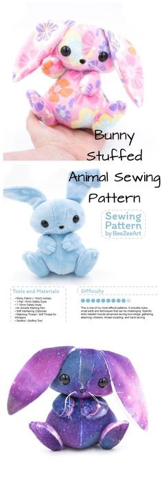 Bunny Stuffed Animal Sewing Pattern, Plush Toy Pattern, Rabbit Plushie Pattern, PDF, Digital Download, babyshower gift, gift ideas, easter ideas, easter crafts, diy ideas, nursery decor, gift for children, baby gift #ad #bunny #rabbit #sewing #pattern #easter #diy #craft #konijn #naaipatroon