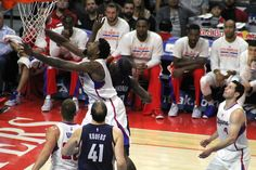 DeAndre Jordan goes after a rebound against the Memphis Grizzlies in a game Saturday, April 11, 2015.