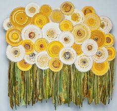 Dandelion Forest by Vladimir Telnykh Fabric Art, Fabric Crafts, Sewing Crafts, Textile Fiber Art, Textile Artists, Fiber Art Quilts, Quilt Festival, Flower Quilts, Fabric Flowers