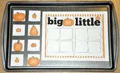 "The ""Pumpkins:  Big and Little Sort"" Cookie Sheet Activity is a fall, pumpkin or Halloween themed activity.  In this cookie sheet activity, students sort pumpkins by size attribute:  big or little."