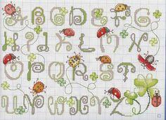 Ladybug cross stitch alphabet