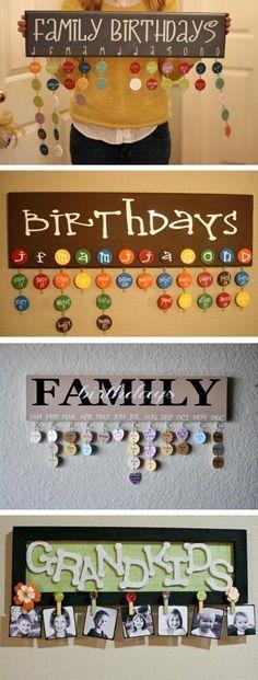 DIY Family Birthdays Calendar
