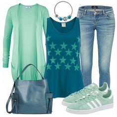 Love the colors (teals, mints, jean color). Don't necessarily like the stars on the shirt, would like better if they were stripes. Would not wear the shoes.