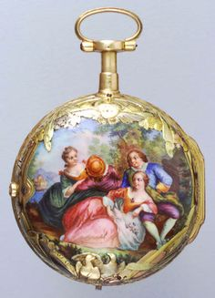 Antique Pocket Watch With Beautiful Image On The Enamel Depicting A Happy Group Gathering In The Countryside.♥