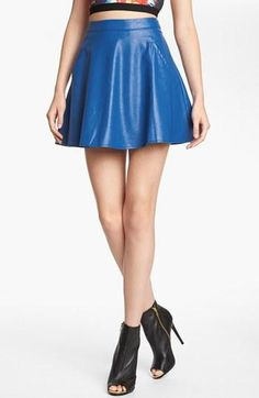 Blue leather skirt!