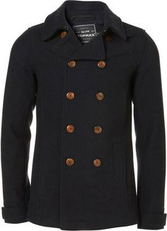 ShopStyle: TopmanNavy Wool Skinny Fit Peacoat