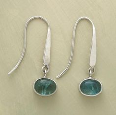 """The seductive shades of the seven seas in our apatite cabochons, suspended on sterling wires. Stones exhibit natural color variations. Handcrafted. Exclusive. 1-1/8""""L."""