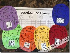 Marching Ten Frames. Teen Numbers on a ten frame. Perfect for In Like a Lion, Out like a Lamb.