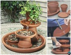 Want To Build Your Own Table Top Terra Cotta Fountain? Table Fountain, Diy Fountain, Diy Garden Fountains, Diy Herb Garden, Water Fountains, Garden Pond, Pots D'argile, Clay Pots, Clay Pot Projects