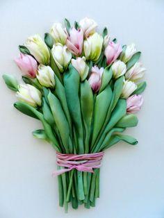 Bouquet of tulips silk ribbon embroidery by StudioSilkRose on Etsy