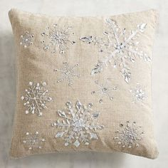The forecast calls for an accumulation of charm, thanks to our wintery throw pillow with shimmery snowflakes sewn onto a natural cotton/linen-blend background. White Christmas, Christmas Crafts, Christmas Decorations, Holiday Decorating, Christmas Stuff, Christmas Time, Christmas Ideas, Black And White Theme, Black White