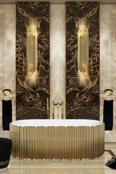 The gold-plated brass tubes stand out on this oval-shaped design, giving it the elegant yet luxurious look you are searching for. Contemporary Bathrooms, Modern Bathroom, Master Bathroom, Bathroom Vanity Cabinets, Bathroom Furniture, Bathroom Design Inspiration, Bathroom Trends, Bathroom Designs, Bathroom Ideas
