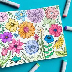 The Earth laughs in flowers. -Ralph Waldo Emerson. I hope your Monday is full of sunshine and pretty things (and if for whatever reason it's not...I hope you make your own sunshine and pretty things)! :art: Art Supplies: Dylusions Art Journal and @copic