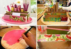 Organizador de lápices con cajas recicladas y un salvamanteles de madera. ¡Chulísimo!