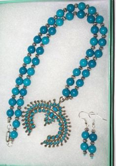 Handmade Beaded Necklace Set Turquoise with by SCLadyDiJewelry