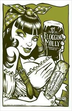 ☆ Rockabilly Flogging Molly Gig Poster - A favourite. Tour Posters, Band Posters, Music Posters, Flogging Molly, Rockabilly Art, Gothabilly, Concert Posters, Gig Poster, Festival Posters