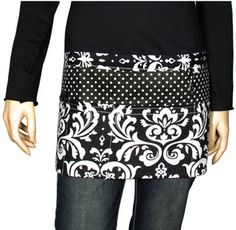 Damask and Black Polka Dot Utility Waist Apron #DM382-BLACK (Shown with Optional Personalization)