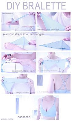 muchelleb — diy bralette tutorial - if you want to learn how.diy bralette tutorial - if you want to learn how to make it in a lil more depth, here?s the video tutorialdiy bralette tutorial - this looks like it might work for Panties Patterns t Sewing Hacks, Sewing Tutorials, Sewing Crafts, Sewing Projects, Sewing Patterns, Clothes Patterns, Diy Projects, Skirt Patterns, Dress Tutorials