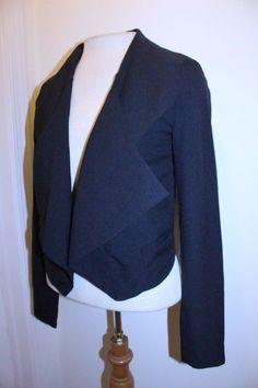 Jennifer Lopez Coat XS Black Open Front Cropped Casual Cocktail Waterfall Blazer #JenniferLopez #Blazer