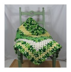 """1970s Crochet Afghan in Shades of Green . Vintage Throw Blanket 64"""" x 52"""" by 13thStreetEmporium on Etsy"""