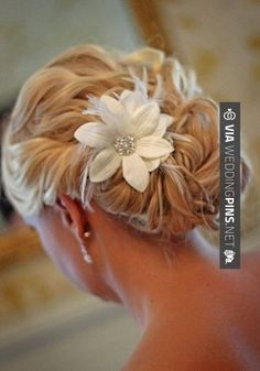 Custom Handmade Hair Clip Pin White Flower Feather Wedding Shabby Chic Rustic Decorations Bride Bridesmaid Accessories Gift pretty rolled side and curly back… not sure my hair is long enough for this and or how it would look from the front… Wedding Hair And Makeup, Bridal Hair, Hair Makeup, Wedding Updo, Wedding Songs, Bridesmaid Hair, Prom Hair, Bridesmaids, Bride Hairstyles