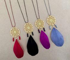 Boho Gold Dreamcatcher Native American Necklace with by IzouBijoux