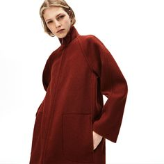 A ribbed standup collar adds extra warmth to this cozy blended-wool coat, crafted with raglan sleeves, patch pockets and a zip-front closure. Lacoste Clothing, Colar Fashion, Coats For Women, Clothes For Women, Wool Coat, World Of Fashion, Cotton Dresses, Black Cotton, Autumn Winter Fashion