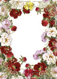 Цветочная рамка - розы в золоте