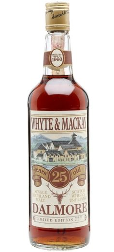 Dalmore 25 yo Whyte & Mackay Single Highland Malt Scotch whisky distilled prior to 1960, matured in sherry casks and bottled in the late 80s