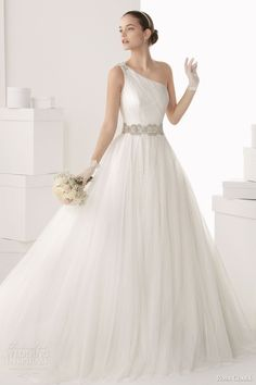 rosa clara bridal 2014 camelia one shoulder strap ball gown beaded detail full
