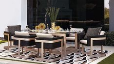 Unique Modern Outdoor Chair Furniture And Rattan Latest Dining Table Designs - B. - outside - Design Rattan Furniture Modern Outdoor Chairs, Outdoor Wicker Furniture, Outdoor Dining Set, Dining Furniture Sets, Unique Furniture, Latest Dining Table Designs, Esstisch Design, Luxury Home Decor, Outdoors