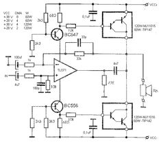 100w Subwoofer Amplifier Circuit Diagram Led Dimming Driver Wiring 140w Power Tip3055 Tip2955 In 2019 Digital There Is No Provision To Set The Bias For Q1 And Q2 So Will Be Crossover Distortion I Thought Why Not Use A Respectable Op Amp Pair