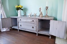 antique gray shabby chic tv stand cabinet by VintageChicFurniture Shabby Home, Shabby Chic Kitchen, Shabby Chic Tv Stand, Tv Stand Cabinet, Gray, Living Room, Antiques, Storage, Tv Stands