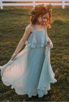 Chiffon Cheap Lovely Comfortable Cute Simple Flower Girl Dresses, Popular Little Girl Dresses Frocks For Girls, Dresses Kids Girl, Kids Outfits, Little Girl Gowns, Girls Dresses Sewing, Dress Girl, Simple Flower Girl Dresses, Princess Flower Girl Dresses, Flower Girl Gown