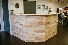 Reclaimed Wood Reception Desk done by Grace & Salt (www.graceandsalt.net)