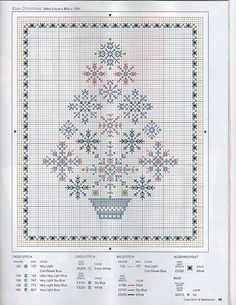 Blue Christmas cross stitch tree -- free